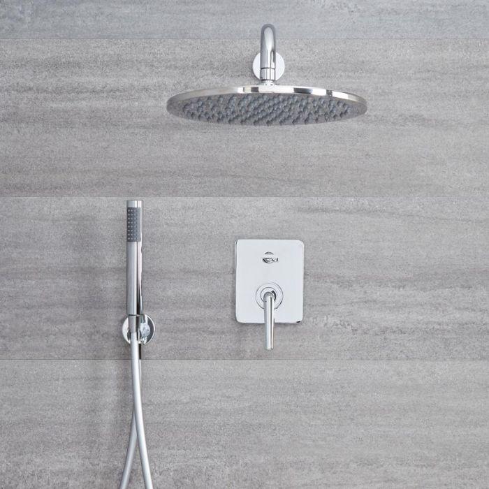 Kit de douche encastré - Mitigeur mécanique - Pomme de douche Ø 30cm & Douchette sur clip - Ora Chromé