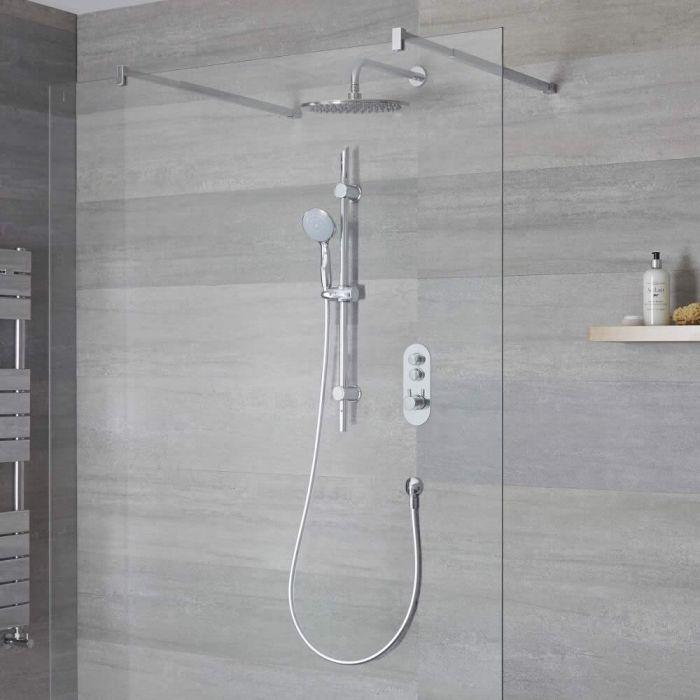Douche encastrable 2 Fonctions - Douchette sur Rampe & Pommeau Rond Plafond 30cm -Idro