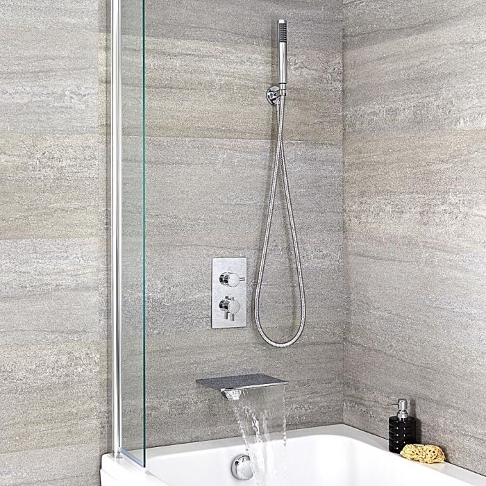 Mitigeur bain douche encastrable thermostatique bec cascade rectangulaire - Mitigeur thermostatique douche encastrable ...