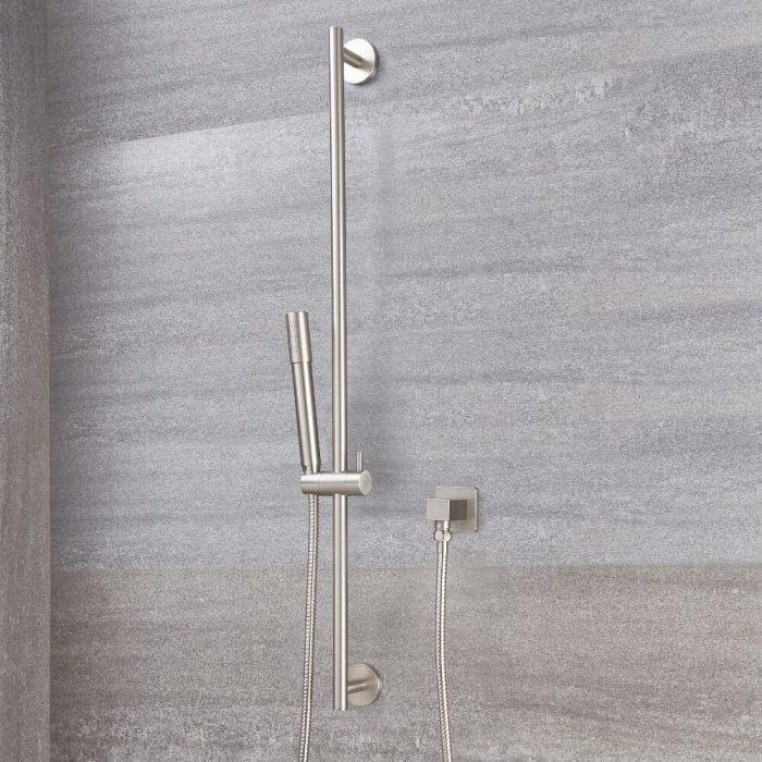 Kit Douchette sur Rampe Design Rond - Nickel Brossé