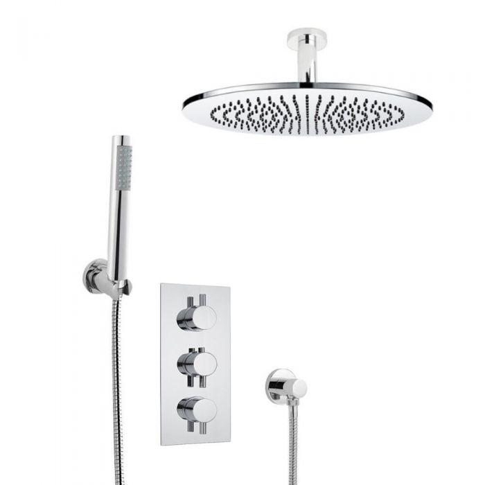 Kit de Douche Thermostatique Encastrable à Pommeau Plafond Ø 30cm & Douchette Design Rond Fonctions distinctes ou simultanées
