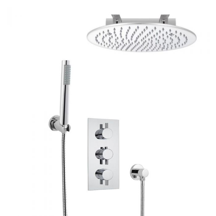 Kit de Douche Thermostatique Encastrable à Pommeau Ø 40cm & Douchette Design Rond Fonctions distinctes ou simultanées