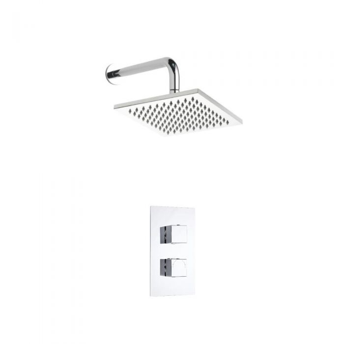 Kit de Douche Thermostatique Encastrable Minimaliste Cubique Pommeau mural 20x20cm