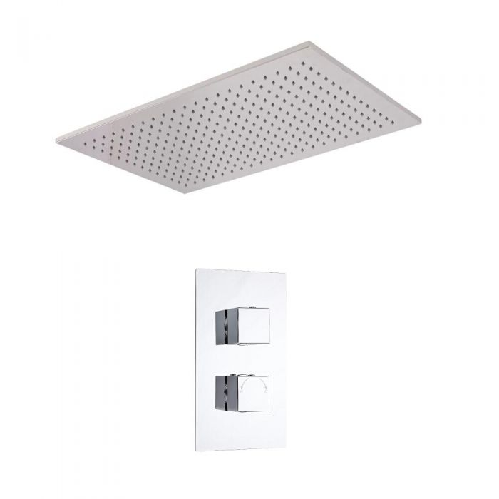 Kit de Douche Thermostatique Encastrable Cubique - Pommeau Plafond 50x80cm