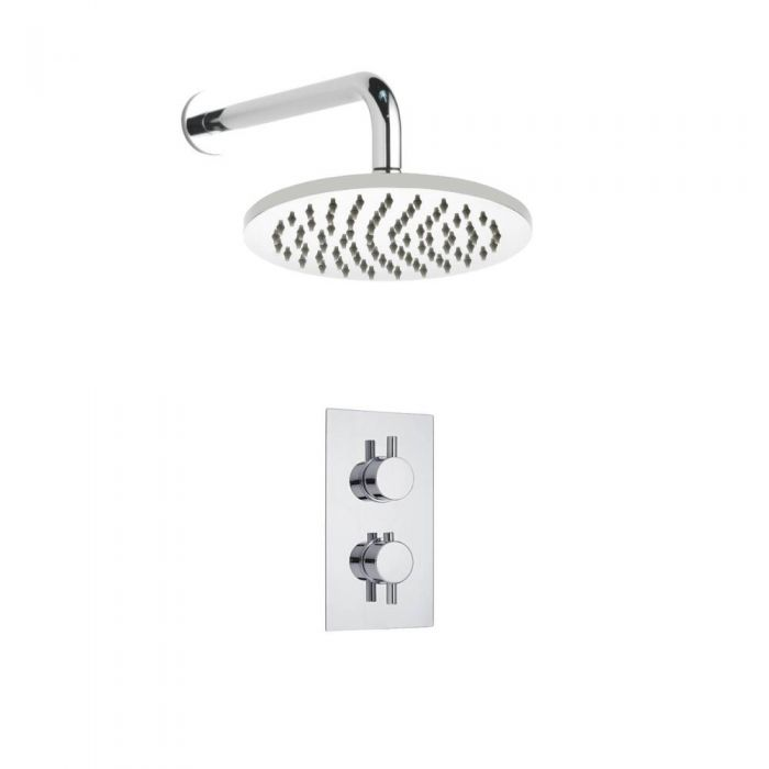 Kit de Douche Thermostatique Encastrable à Pommeau Ø 20cm Design Minimaliste Rond