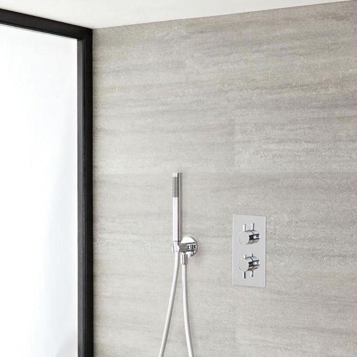 Kit de Douche Thermostatique Encastrable Design Rond Minimaliste avec Douchette
