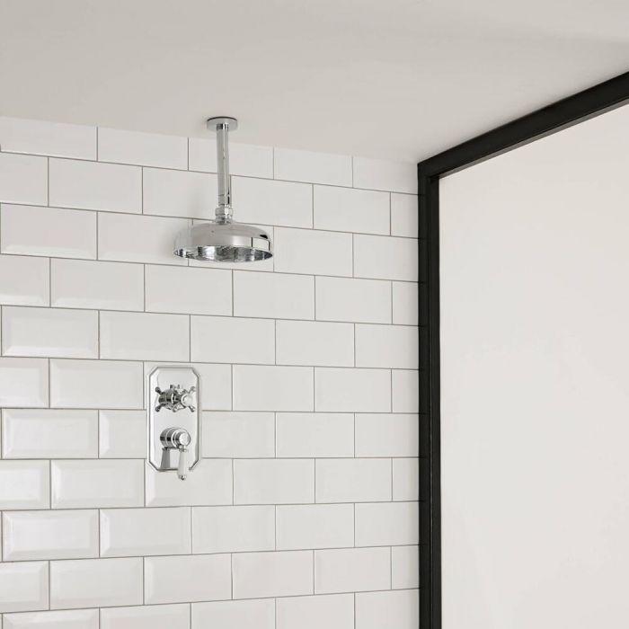 Kit de Douche Thermostatique Encastrable Pommeau Plafond Ø 30cm & Mitigeur Rétro