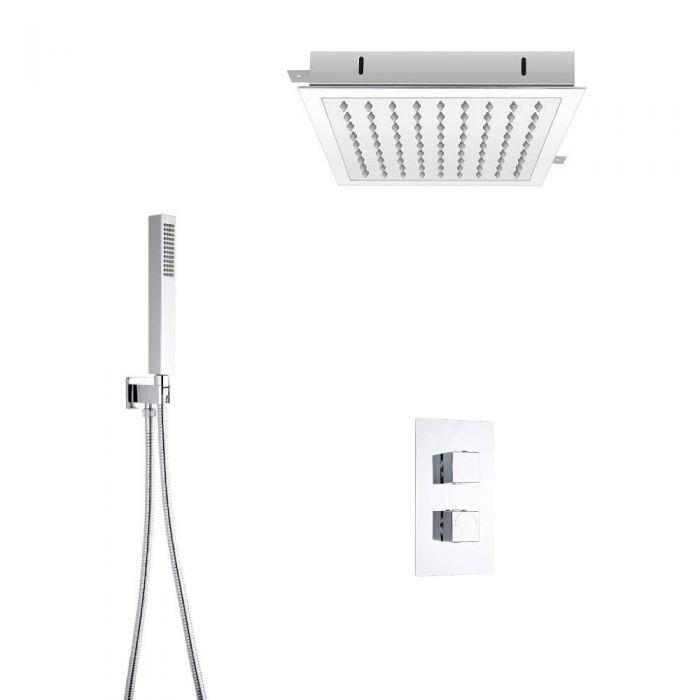 Kit de Douche Thermostatique Encastrable Cubisme Minimaliste Pommeau Plafond 28x28cm & Douchette