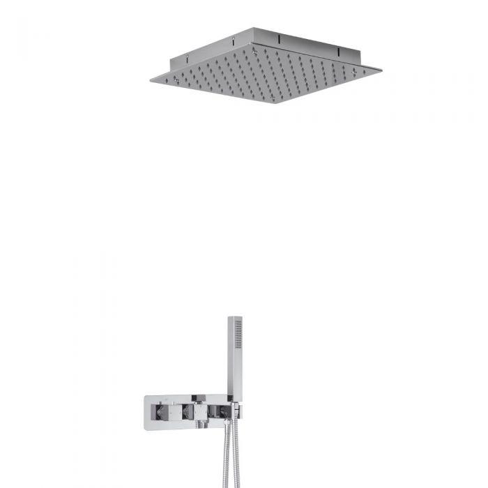 Kit Douche Encastrable Pommeau Plafonnier 40x40cm & Douchette Arvo