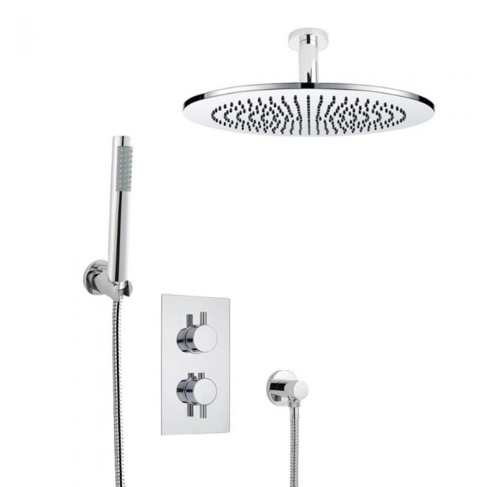 Agreable Kit De Douche Thermostatique Encastrable Pommeau Plafond Ø 30cm U0026 Douchette  Design Rond