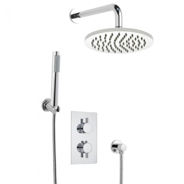 Kit de Douche Thermostatique Encastrable Pomme Ø 20cm & Douchette Design Rond Minimaliste