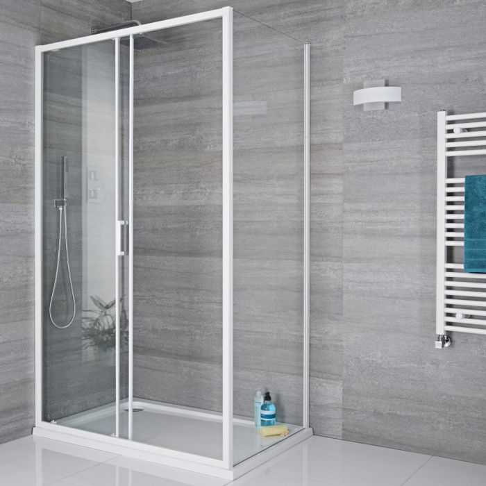 Paroi de douche latérale fixe 90cm Lux Blanc