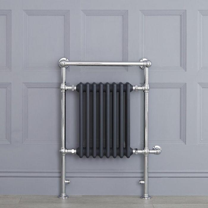 Sèche-serviettes électrique Rétro Anthracite & Chrome Avon 93 x 62 x 15.5cm
