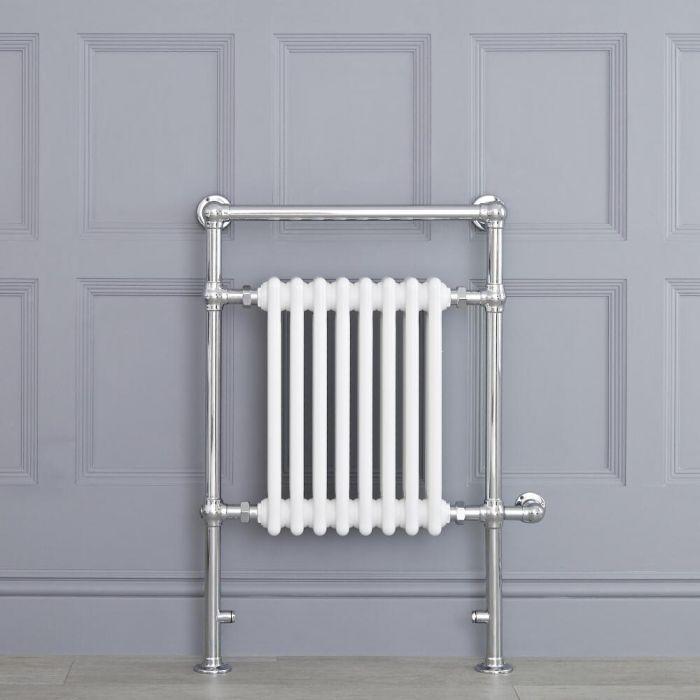 Sèche-serviettes électrique Rétro Blanc & Chrome Avon 93 x 62 x 15.5cm