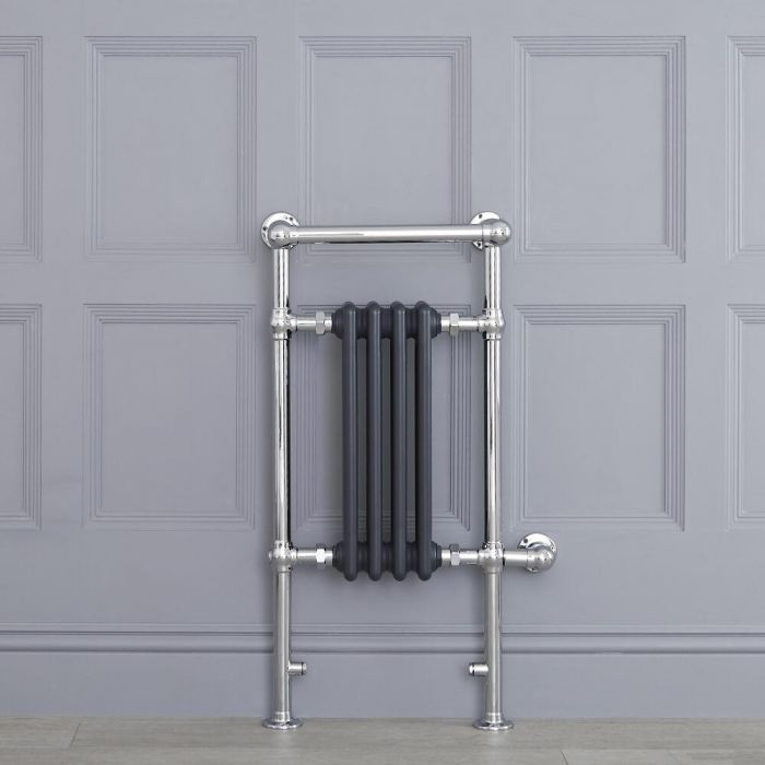 Sèche-serviettes électrique Rétro Anthracite & Chrome Avon 93 x 45 x 23cm