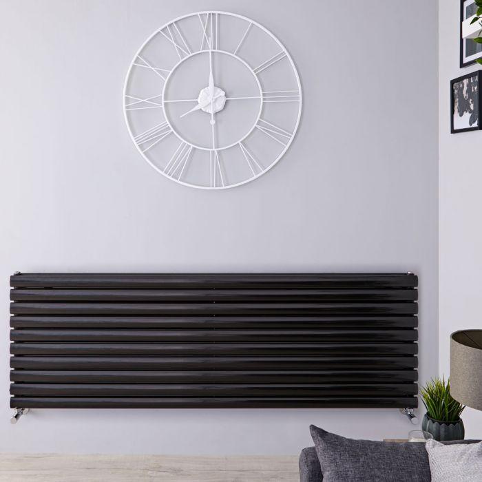 Radiateur Design Horizontal Noir Vitality 59cm x 178cm x 7,8cm 2066 Watts