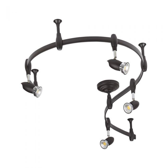 Biard Spot LED Pack de 4 & Rail Flexible 2m Forio Noir