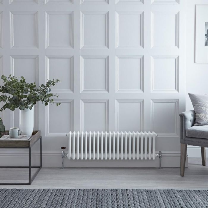 Radiateur Horizontal Style Fonte Blanc Windsor 30cm x 101,3cm x 10cm 889 Watts