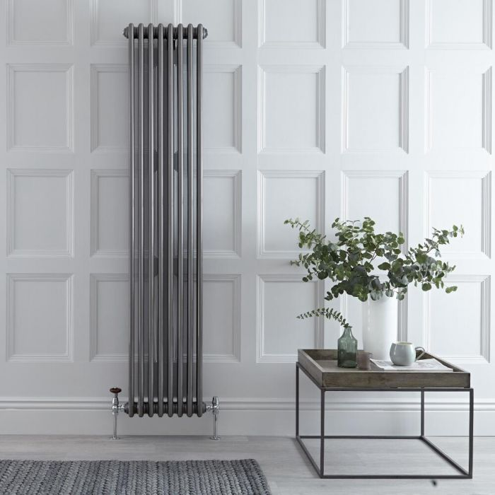 Radiateur Vertical Style Fonte Acier Brut Windsor 180cm x 38,3cm x 10cm 1558 Watts