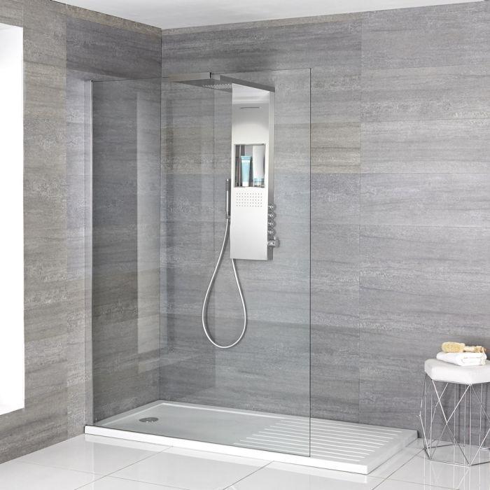 Paroi de douche Portland - Receveur zone de séchage & Colonne de douche thermostatique - Choix de Tailles