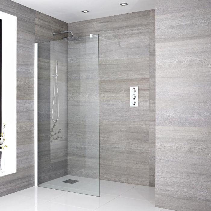 Paroi de douche Profilé blanc 100x195cm & Choix de Caniveau de Douche