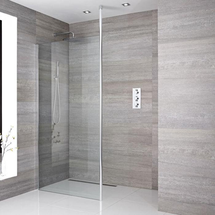 Paroi de douche 100x195cm avec bras stabilisateur recoupable & Choix de Caniveau de Douche Sera