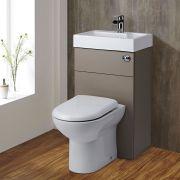 WC avec Lave Main Gris & Blanc Géométrique