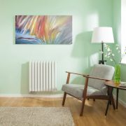 Radiateur Design Horizontal Raccordement Central Blanc Vitality Caldae 63,5cm x 59,5cm x 7,8cm 1042 Watts