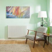 Radiateur Design Horizontal Raccordement Central Blanc Vitality Caldae 63,5cm x 100cm x 7,8cm 1773 Watts