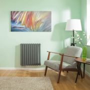 Radiateur Design Horizontal Raccordement Central Anthracite Vitality Caldae 63,5cm x 59,5cm x 7,8cm 1042 Watts