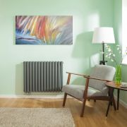 Radiateur Design Horizontal Raccordement Central Anthracite Vitality Caldae 63,5cm x 83,4cm x 7,8cm 1461 Watts