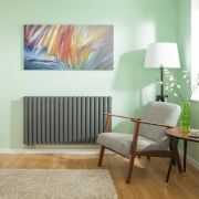 Radiateur Design Horizontal Raccordement Central Anthracite Vitality Caldae 63,5cm x 118cm x 7,8cm 2086 Watts