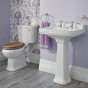 Lavabo sur colonne Carlton 59cm & WC - Rétro - Choix d'abattant
