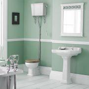 Lavabo 59cm & WC Rétro - Chasse d'eau haute & Choix d'abattant