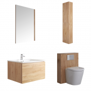 Meuble Lavabo Newington 60cm Chêne Doré - Pack WC & Miroir