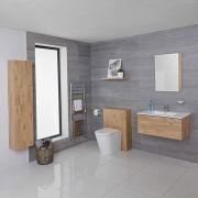 Meuble Lavabo Newington 80cm Chêne Doré - Pack WC & Miroir