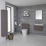 Meuble Lavabo Newington 60cm Gris Mat - Pack WC & Miroir