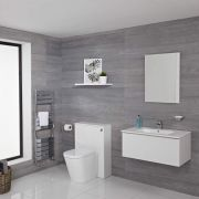 Meuble Lavabo Newington 80cm & Pack WC Blanc Mat