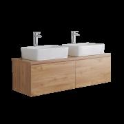 Meuble Double vasque carrée 120cm Newington Chêne Doré