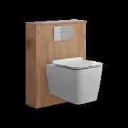 WC Moderne avec meuble carré Newington - 60cm - Chêne Doré
