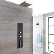 Douche Thermostatique Encastrable 90x22cm - Pommeau plafond carré 20cm - Douchette & Buses hydromassantes - Gamme Llis
