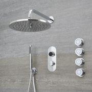 Douche Digitale Thermostatique 3 Fonctions - Pommeau Douche Plafond Ø 30cm sur Bras 32cm - Douchette & 4 Jets Hydromassants - Narus