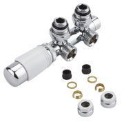 Robinet Radiateur Thermostatique Équerre d'Angle 3/4'' Mâle Blanc & Chrome & Adaptateurs cuivre 15mm