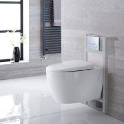 Pack WC Suspendu Kenton - Bâti-support 82x40x15/20cm & Plaque de Déclenchement au Choix