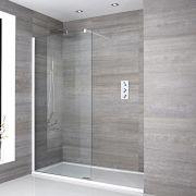 Paroi de douche 80x195cm Profilé blanc & Receveur 140x90cm