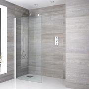 Paroi de douche Profilé blanc 90x195cm & Choix de Caniveau de Douche