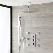 Kit Douche Thermostatique encastrable Pommeau plafond 40cm - Douchette sur rampe & Buses - Cubique