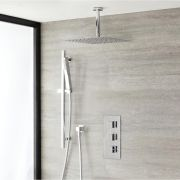 Douche Encastrable Thermostatique Pommeau 40cm & Douchette Design Cubique