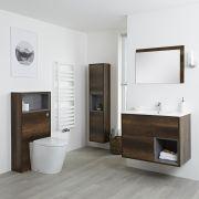Meuble Lavabo 46.5x81cm - Colonne de Rangement 150cm - Miroir & Pack WC - Hoxton Chêne Foncé