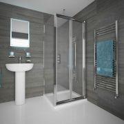 Cabine de douche porte pliante 80x80x195cm & Receveur Portland